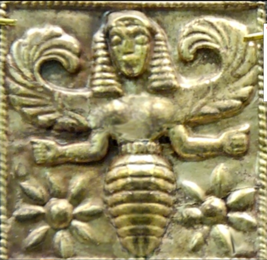 images showing a winged bee goddess found in Rhodes, and dated to 7th century BCE.